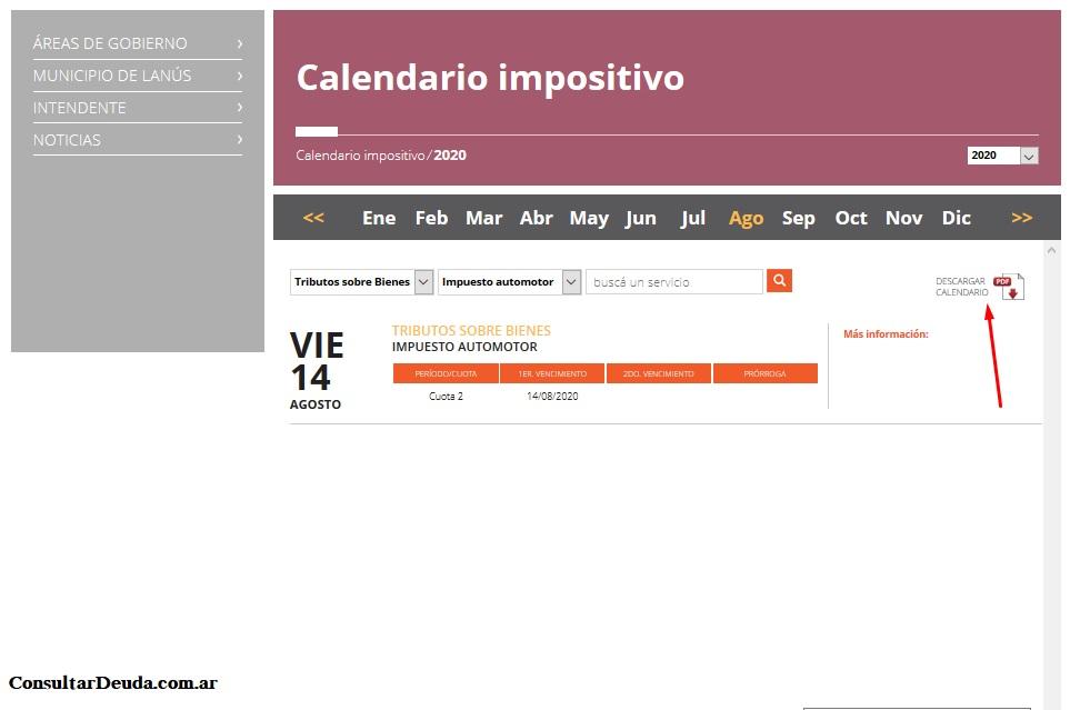 calendario impositivo