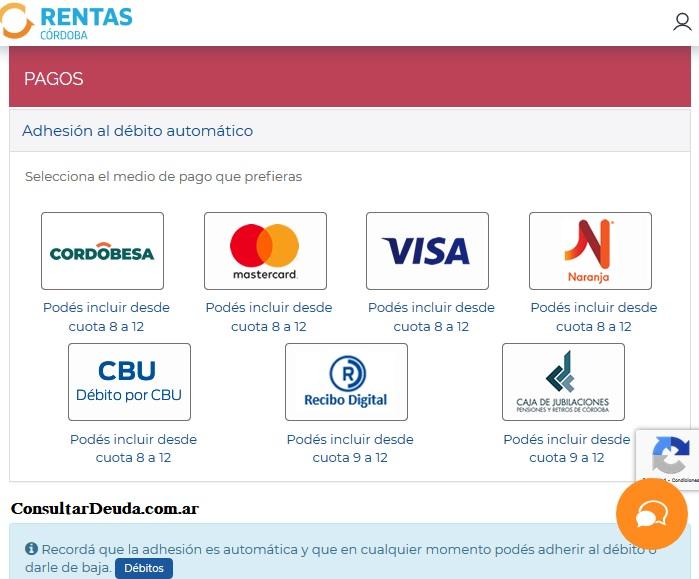 pago debito automatico